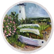 Round Beach Towel featuring the painting Edgartown Light And Her Entourage by Michael Helfen