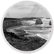 Edge Of A Continent Bw Round Beach Towel