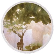 Edge Of The Forrest Round Beach Towel by Marilyn Jacobson