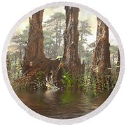 Edge Of The Old Forest Round Beach Towel by Hal Tenny