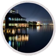 Edgewater Grill Round Beach Towel by Eddie Yerkish