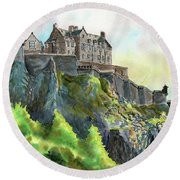 Edinburgh Castle From Princes Street Round Beach Towel
