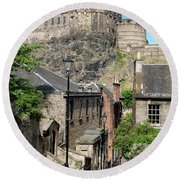 Round Beach Towel featuring the photograph Edinburgh Castle From The Vennel by Jeremy Lavender Photography
