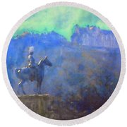 Edinburgh Castle Horse Statue Round Beach Towel