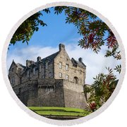 Round Beach Towel featuring the photograph Edinburgh Castle by RKAB Works