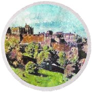 Edinburgh Castle Skyline No 2 Round Beach Towel
