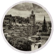 Round Beach Towel featuring the photograph Edinburgh In Scotland by Jeremy Lavender Photography