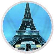 Edsel - Eiffel Round Beach Towel