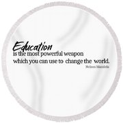 Education #minimalism Round Beach Towel