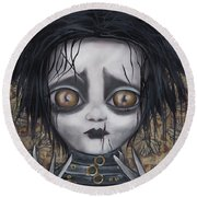 Edward Scissorhands Round Beach Towel by Abril Andrade Griffith
