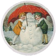 Edwardian Christmas Card Round Beach Towel