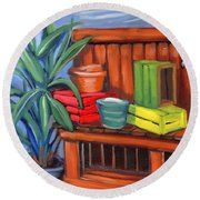 Edwards Nursery Potting Bench Round Beach Towel