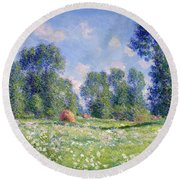 Effect Of Spring At Giverny Round Beach Towel