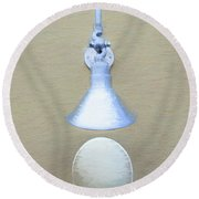 Round Beach Towel featuring the photograph Egg Drop Lamp by Gary Slawsky