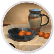 Eggs And Pitcher Round Beach Towel