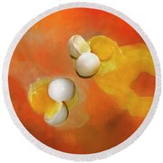 Round Beach Towel featuring the photograph Eggs by Carolyn Marshall