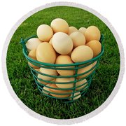 Eggs In A Basket Round Beach Towel