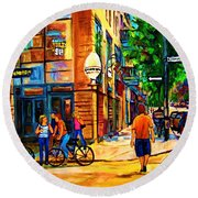 Round Beach Towel featuring the painting Eggspectation Cafe On Esplanade by Carole Spandau