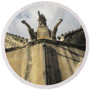 Round Beach Towel featuring the photograph Eglise Saint-severin, Paris by Christopher Kirby