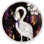 Round Beach Towel featuring the drawing Egret 16-01d by Maria Urso