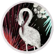 Round Beach Towel featuring the drawing Egret 16-02d by Maria Urso