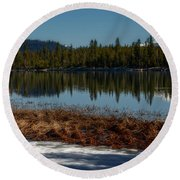 Round Beach Towel featuring the photograph Egret At Lava Lake by Cat Connor