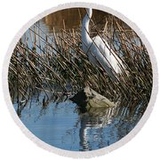 Round Beach Towel featuring the photograph Egret By A Rock by William Selander