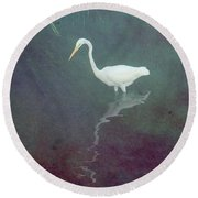 Egret Dreams Round Beach Towel