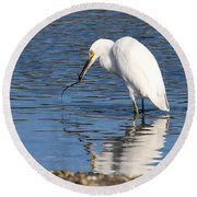 Round Beach Towel featuring the photograph Egret Eating Eel 4 by William Selander