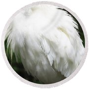 Egret Feeling Ruffled Round Beach Towel