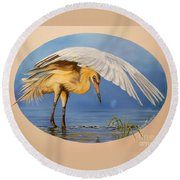 Flying Lamb Productions                  Egret Fishing Round Beach Towel