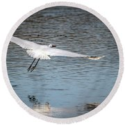 Egret Flight Plan Round Beach Towel