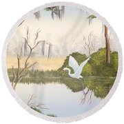 Egret In Flight 1 Round Beach Towel