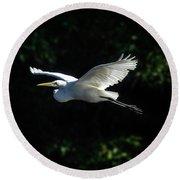 Egret In Flight Art Greenfield Lake Round Beach Towel