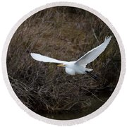 Round Beach Towel featuring the photograph Egret In Flight by George Randy Bass