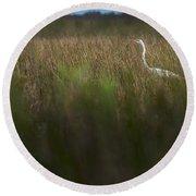 Egret In Swamp-1-0711 Round Beach Towel