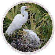 Egret Nest Round Beach Towel