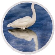 Egret Reflection On Blue Round Beach Towel