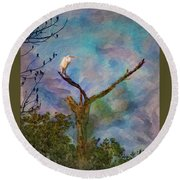 Egret Tree Round Beach Towel