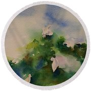 Egrets Impressionistic Watercolor Gift Round Beach Towel by Geeta Biswas