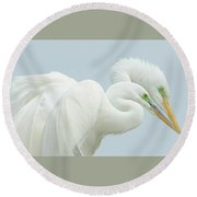 Egrets In Love 2 Round Beach Towel