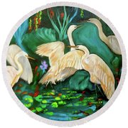 Egrets On Lotus Pond Round Beach Towel by Jenny Lee