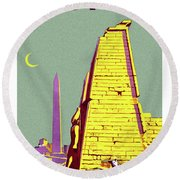 Egypt, Ancient Ruins, Vintage Travel Poster Round Beach Towel