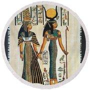Egyptian Papyrus Round Beach Towel