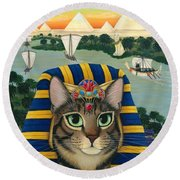 Egyptian Pharaoh Cat - King Of Pentacles Round Beach Towel