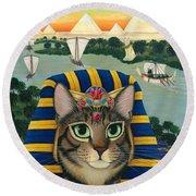 Egyptian Pharaoh Cat - King Of Pentacles Round Beach Towel