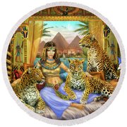 Egyptian Queen With Leopard Round Beach Towel