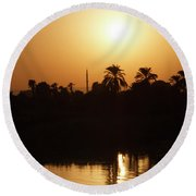 Round Beach Towel featuring the photograph Egyptian Sunset by Silvia Bruno