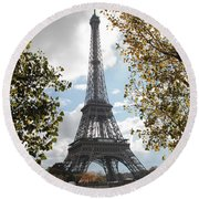 Eiffel From Avenue De New York Round Beach Towel