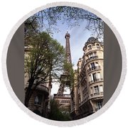 Round Beach Towel featuring the photograph Eiffel Tower 2b by Andrew Fare